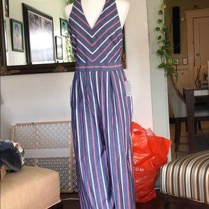 1901-  Denim Stripe Color Jumpsuit